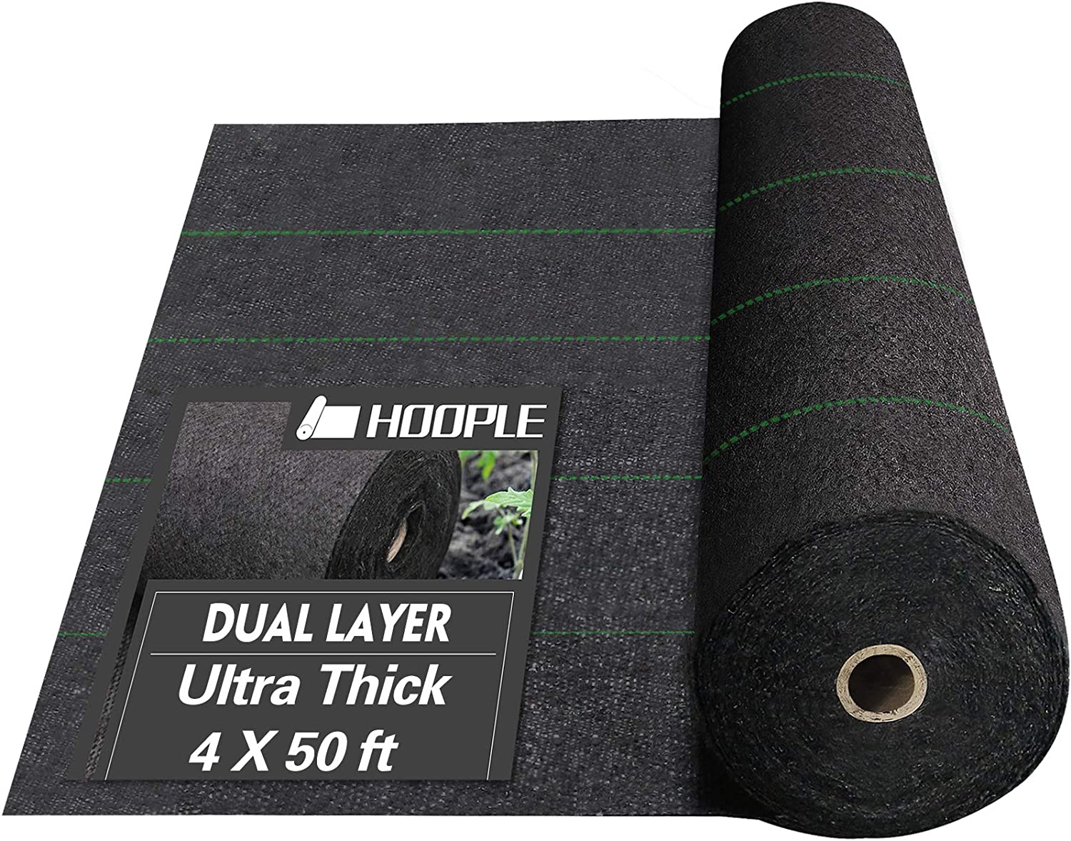 HOOPLE 5Oz Weed Barrier Fabric, Garden Landscape Fabric, Dual Layer Fabric, Cross-Over Design, Durable, Heavy Duty Gound Cover with Guide Strip Helps Align Plants. (4 X 50)