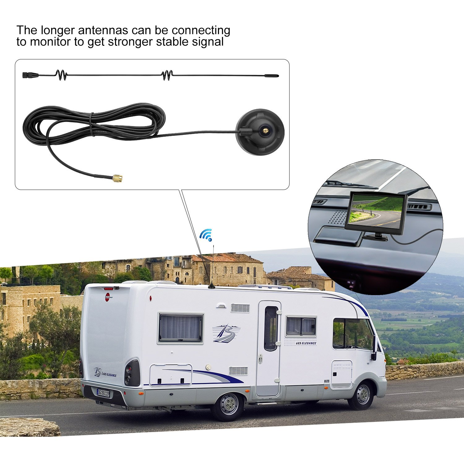 LeeKooLuu Longer//Stronger 7db Antenna with 13.5 ft Extension Cable for Analog//Digital Signal Wireless Built-in Backup Camera and Monitor Systems or Other Devices