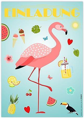12 Einladungskarten Flamingo Einladungen Kindergeburtstag Geburtstag Party Poolparty Schwimmbad Gartenparty Cocktailparty Beachparty Hawaii Sommer