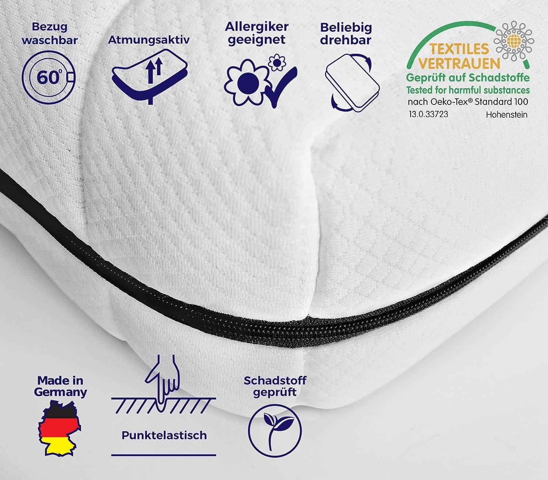 7-Zonen Kaltschaummatratze - Härtegrad H2&H3, Bezug wählbar, Öko-Tex Zertifiziert, Rollmatratze, Matratze Made in Germany (Premium Doppeltuchbezug, 180 x 200 cm)