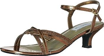 8bde4182a67cd3 David s Bridal Melanie Metallic Low Heel Quarter Strap Sandals Style 896