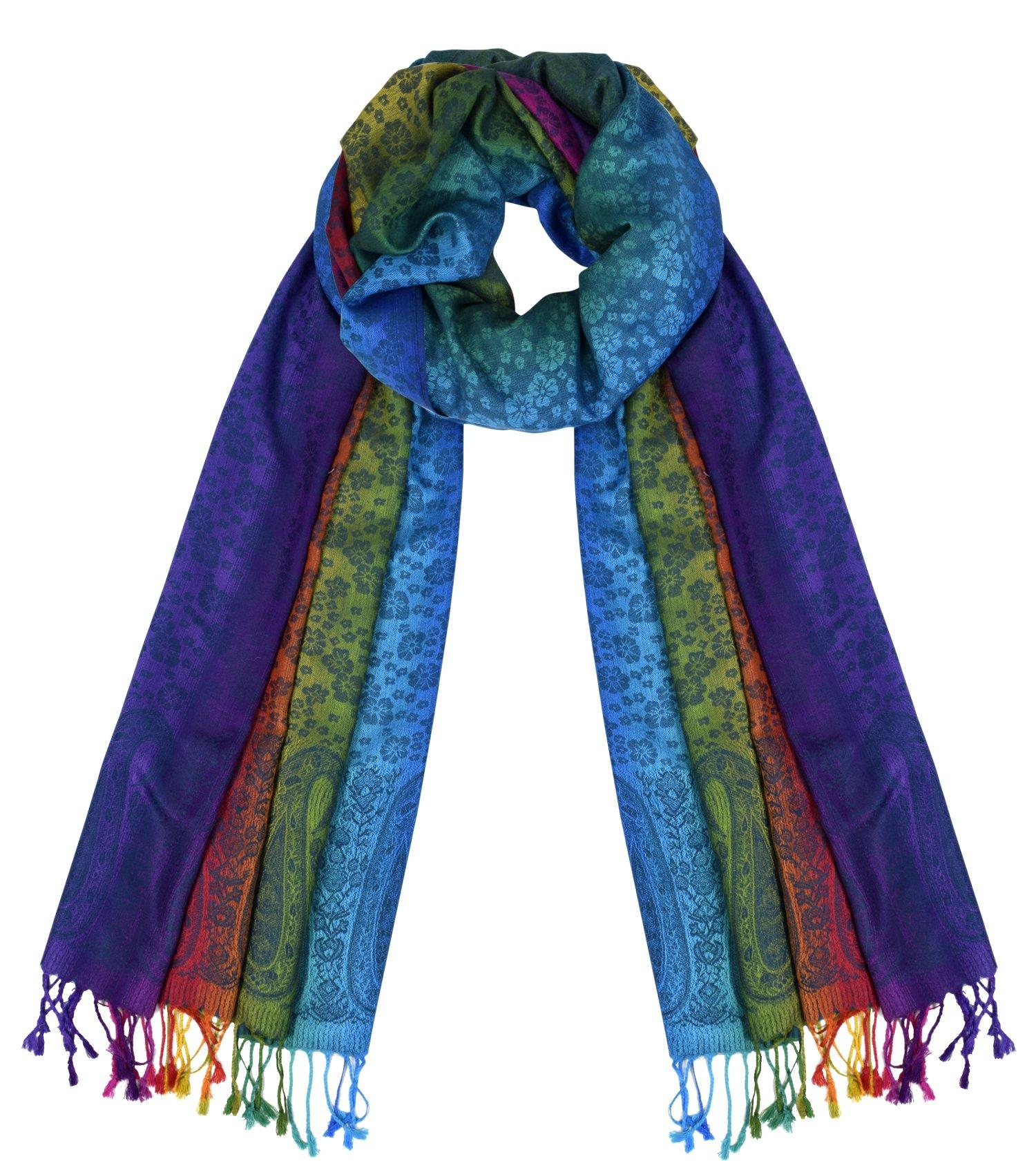 1e73ec127667 Peach Couture Rainbow Silky Tropical Hibiscus Floral Pashmina Wrap Shawl  Scarf (Floral Paisley Blue)