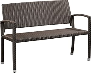 Patio Sense Miles Wicker Patio Bench | All Weather Resin Wicker | Mocha Finish | Lightweight | Easy Assembly | For Front Porch, Backyard, Lawn, Garden, Pool, Deck, Outdoor Seating | Zero Maintenance