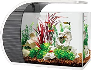 hygger 5 Gallon Fish Aquarium Starter Kits, Arc-Shaped Aquarium Kit with 3.2W Led Lighting, Hidden Filtration Box and Material, 5W Water Pump Rainwater and Duck's Mouth Outlet, Fish Tank Glass Cover