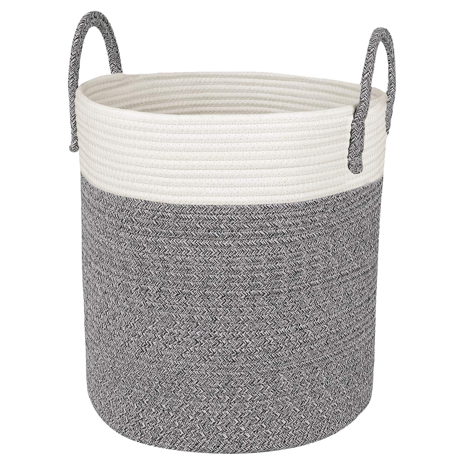 Medium Cotton Rope Basket - 13''x15'' Decorative Woven Basket for Laundry, Baby, Blanket, Towels, Home Storage Container (Grey) by CherryNow