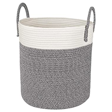Medium Cotton Rope Basket – 13 x15  Decorative Woven Basket for Laundry, Baby, Blanket, Towels, Home Storage Container (Grey)