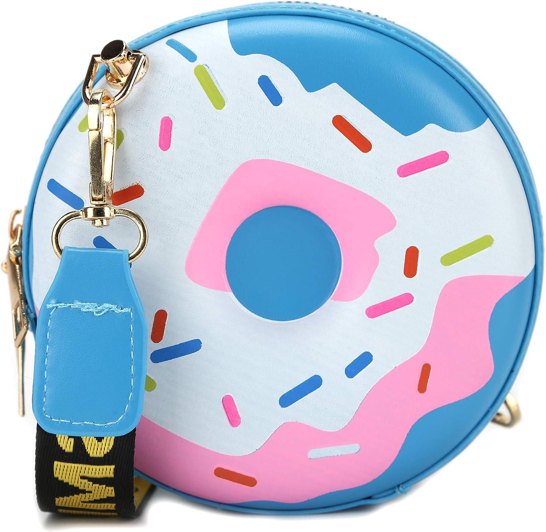 QiMing Doughnut Purse Shoulder Bag,PU Circular Crossbody Handbag for Women girl
