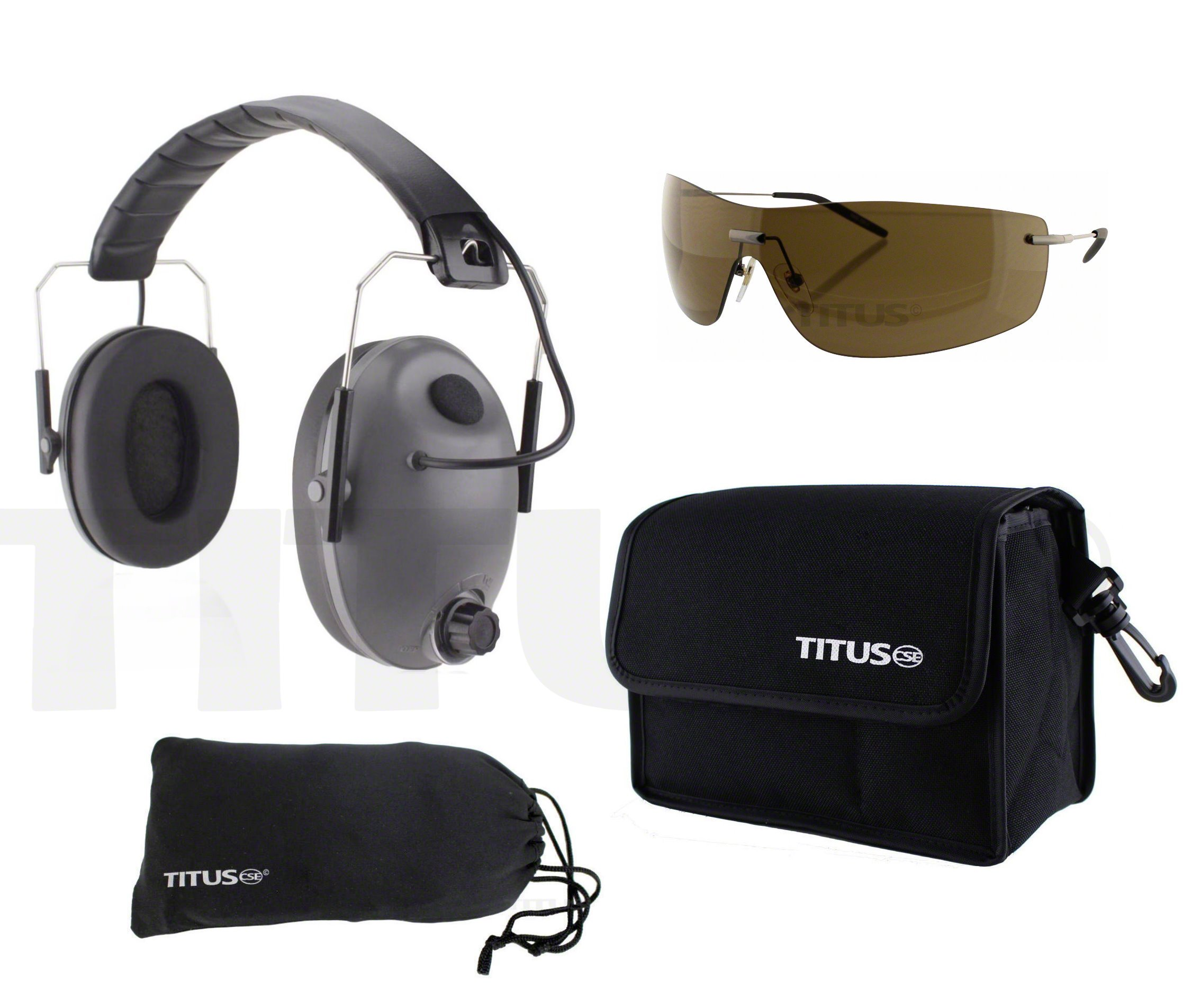 TITUS Electronic Noise-Cancelling Earmuffs and Safety Glasses Combos (Grey Electronic - Slim, G16 Bronze w/Euro-style Metal Frame)
