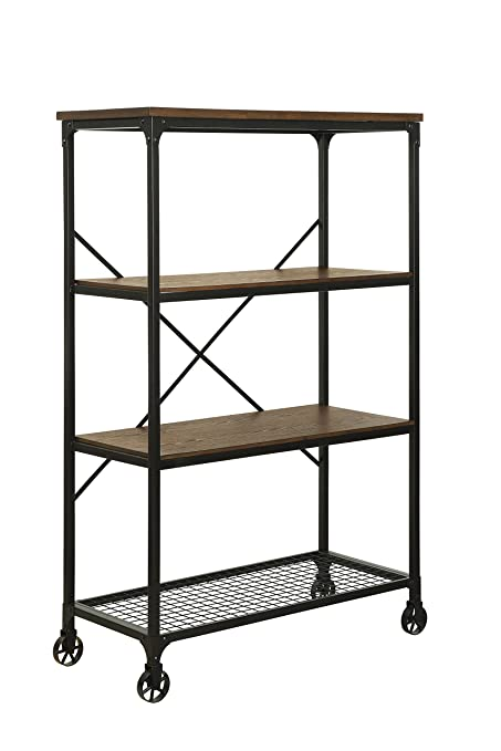 HOMES Inside Out Caridad Industrial Two Tone Bookshelf Large Medium Oak