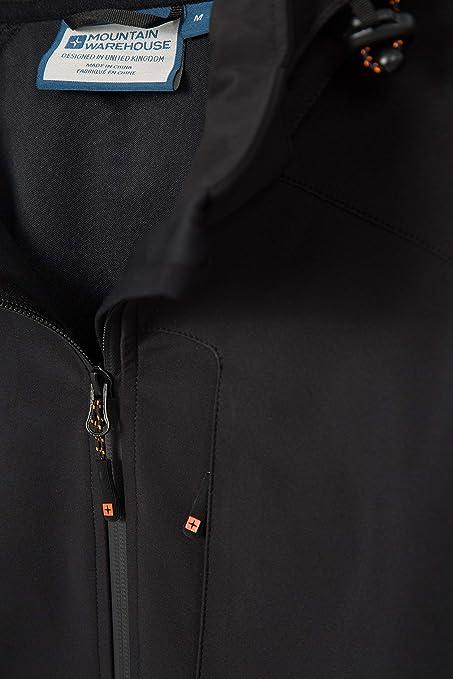 Poches enroulez r/ésistant Garde de Menton r/églable Respirable Manteau r/ésistant /à leau de Pluie Mountain Warehouse Helix Veste de Mens Softshell