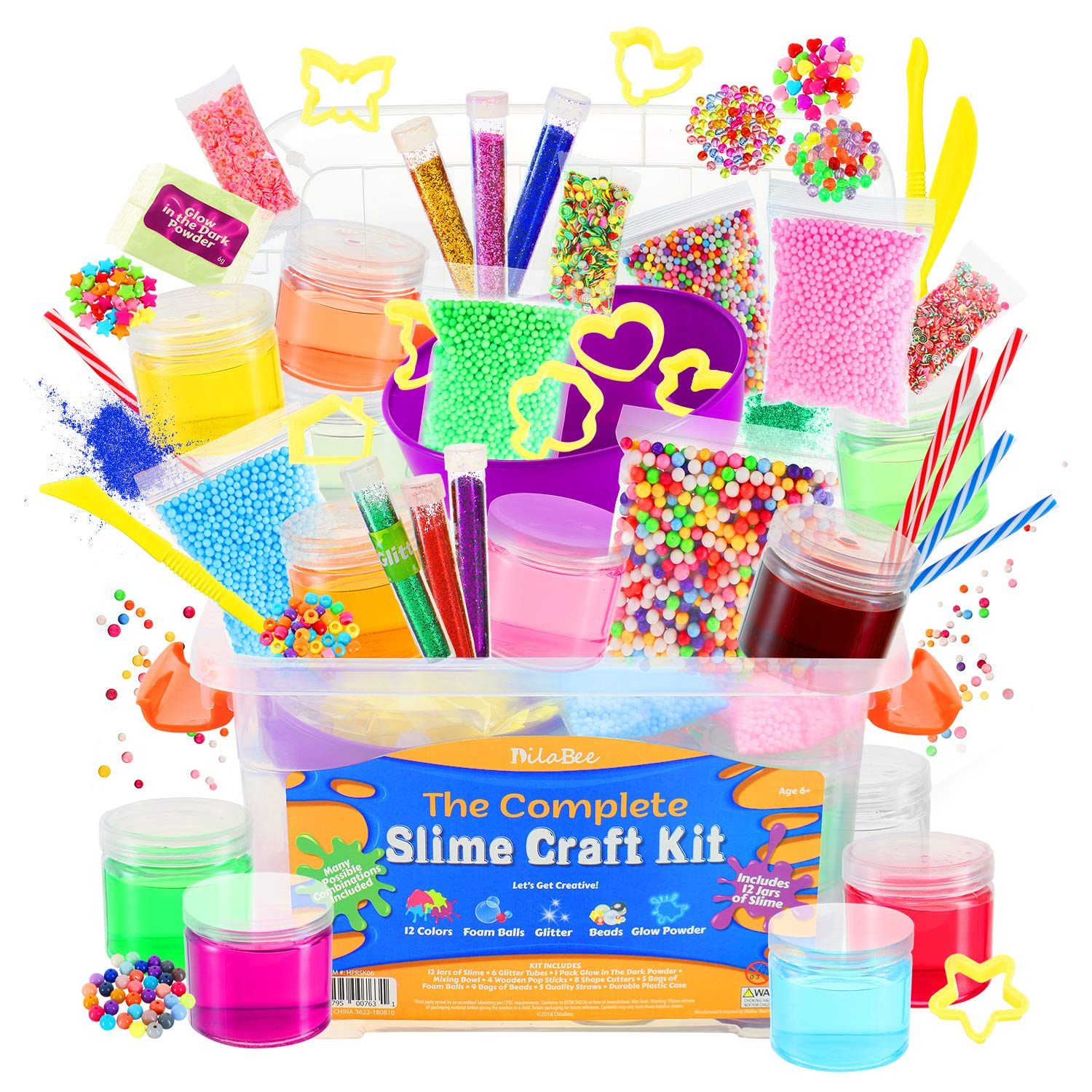 DilaBee Ultimate DIY Slime Making Kit for Girls and Boys - Package Includes 12 Ready Mixed Slime, Glitter, Glow Powder, Charms, Beads + Mixing & Sculpting Tools by DilaBee