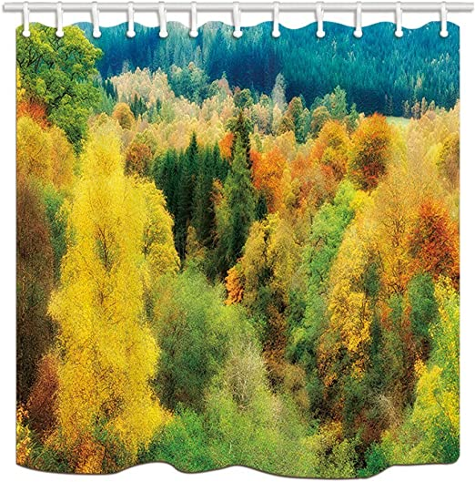Blue Green Autumn Tree Bathroom Shower Curtain Vibrant Watercolor Paint Fall