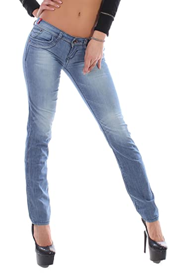 Damen Jeans Hüftjeans Gerader Schnitt Hose Straight Leg Mittelblau 32 34 36 38 40 42 44 46