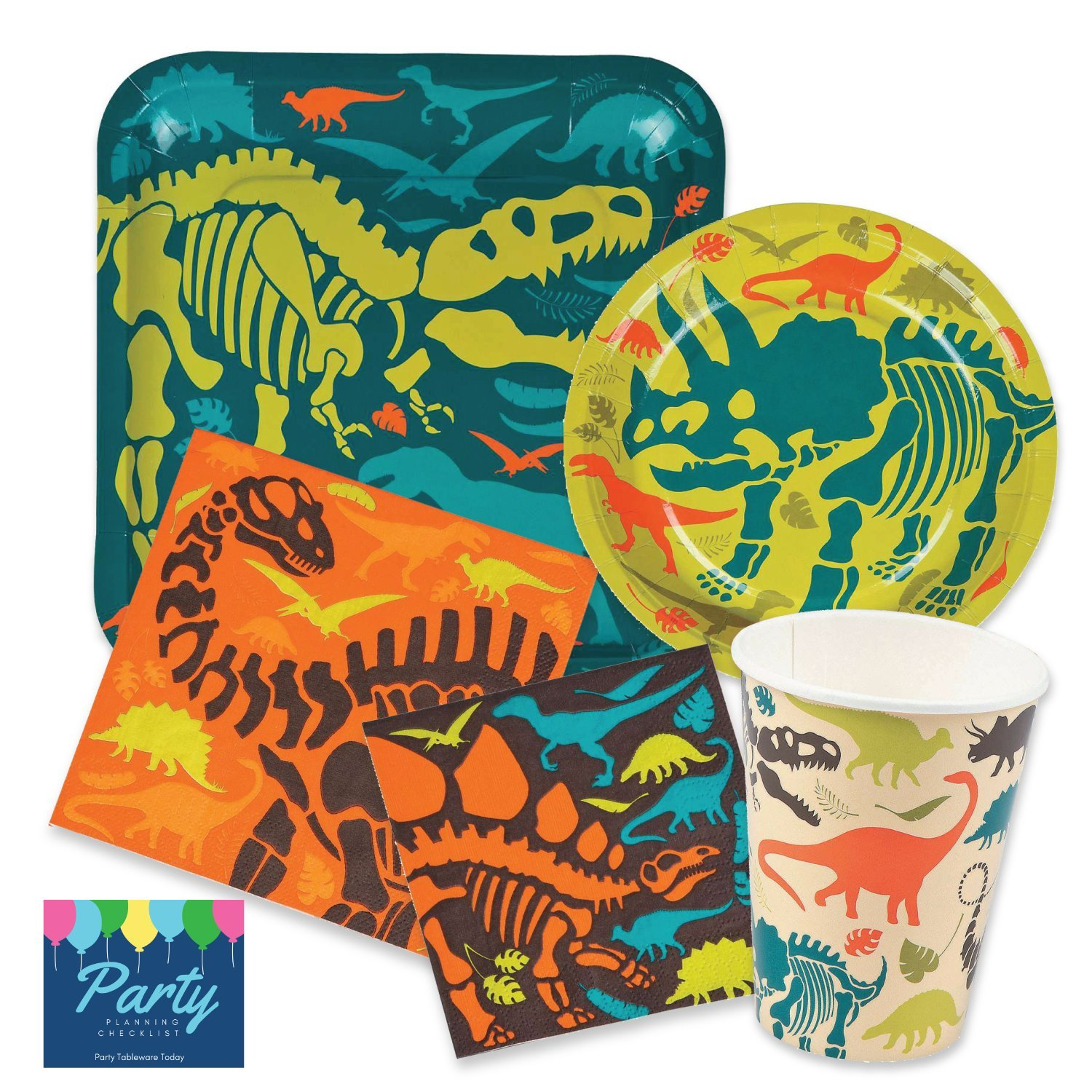 Dinosaur Birthday Party Supplies Pack for 16 people Includes: Large 9 Square Plates, dessert plates, lunch and beverage napkins and paper cups by PMP