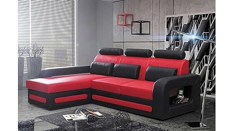 Divano Rosso E Nero : Justhome bergamo mini divano angolare divano letto finta pelle
