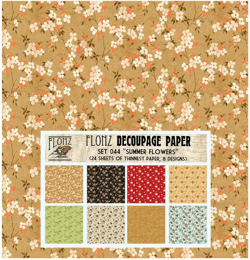 Baroque Floral Damask FLONZ Vintage Styled Paper for Decoupage Craft and Scrapbooking Decoupage Paper Pack 24 Sheets 6x6
