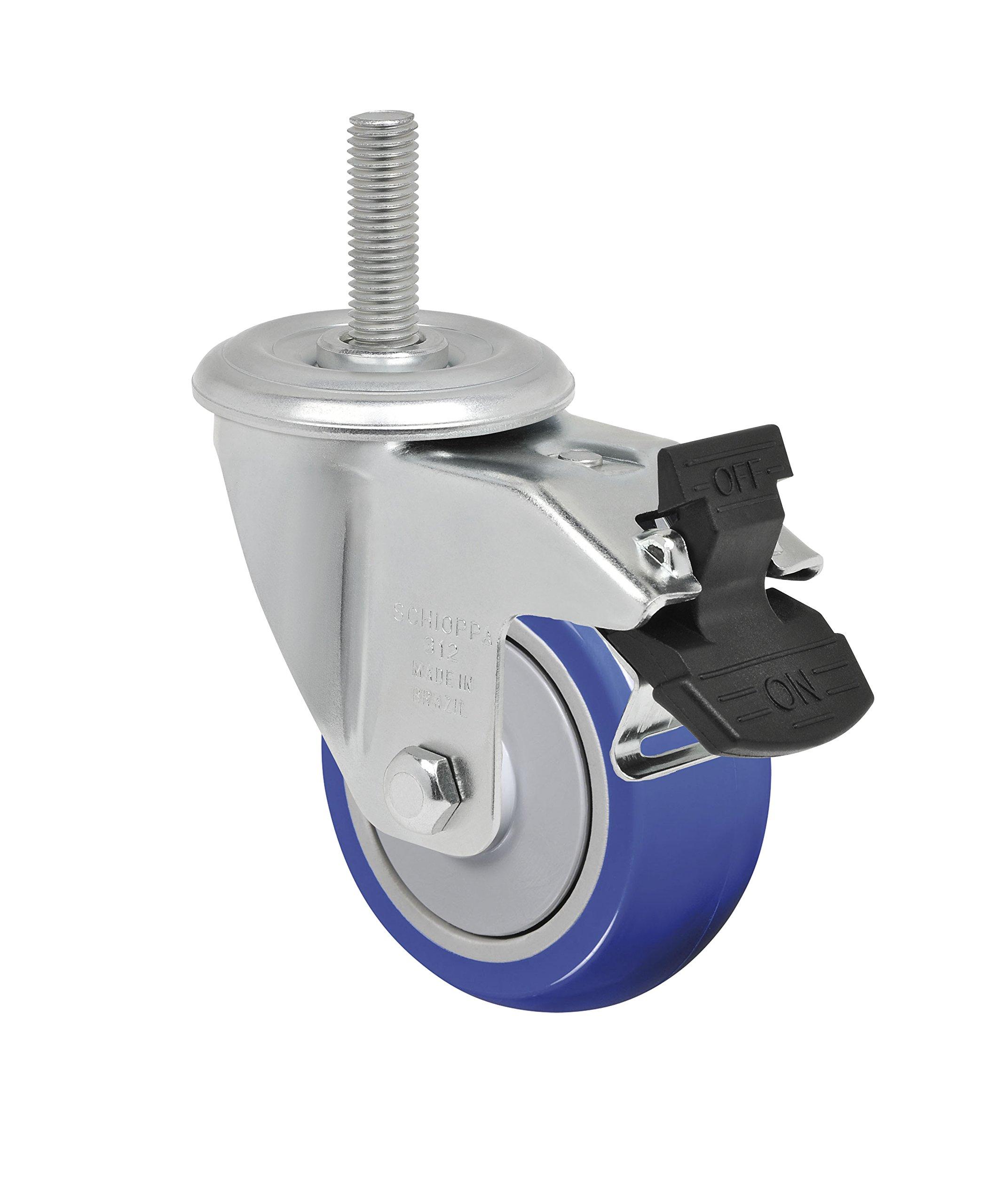 Schioppa L12 Series, GLEIH 312 TP G, 3 x 1-1/4'' Swivel Caster with Total Lock Brake, Non-Marking Thermoplastic Compound Wheel, 150 lbs, 1/2'' Diameter x 2'' Length Threaded Stem