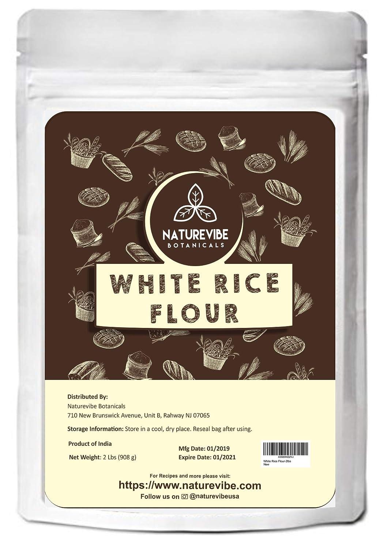 Naturevibe Botanicals White Rice Flour (2lbs) - Anti GMO y sin gluten - Antiinflamatorio y refuerzo Metabolismo