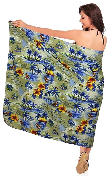 ce9fa4090c LA LEELA Soft Light Swimsuit Cover Up Long Sarong Printed 72