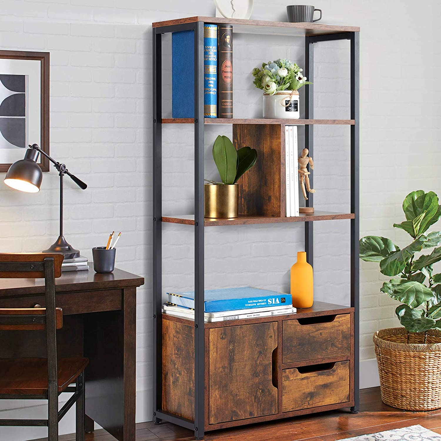 HOMHUM Industrial Bookcase with Cabinets, 3-Tier Freestanding Storage Bookshelf, Open Display Shelf, Wooden and Metal Organizer Rack Furniture for Living Room, Home Office