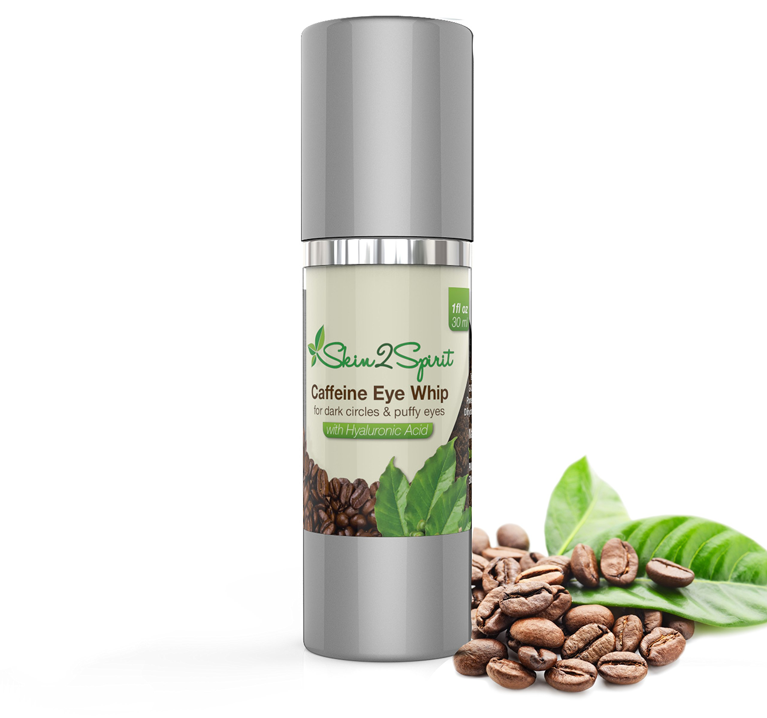 Age Defying Caffeine Eye Cream | 1 OZ | Puffy Eyes, Dark Circles, Fine Lines, Wrinkles | All Natural and Organic Ingredients: Contains Hyaluronic Acid | Cruelty Free | Made in USA! by Skin2Spirit (Image #1)