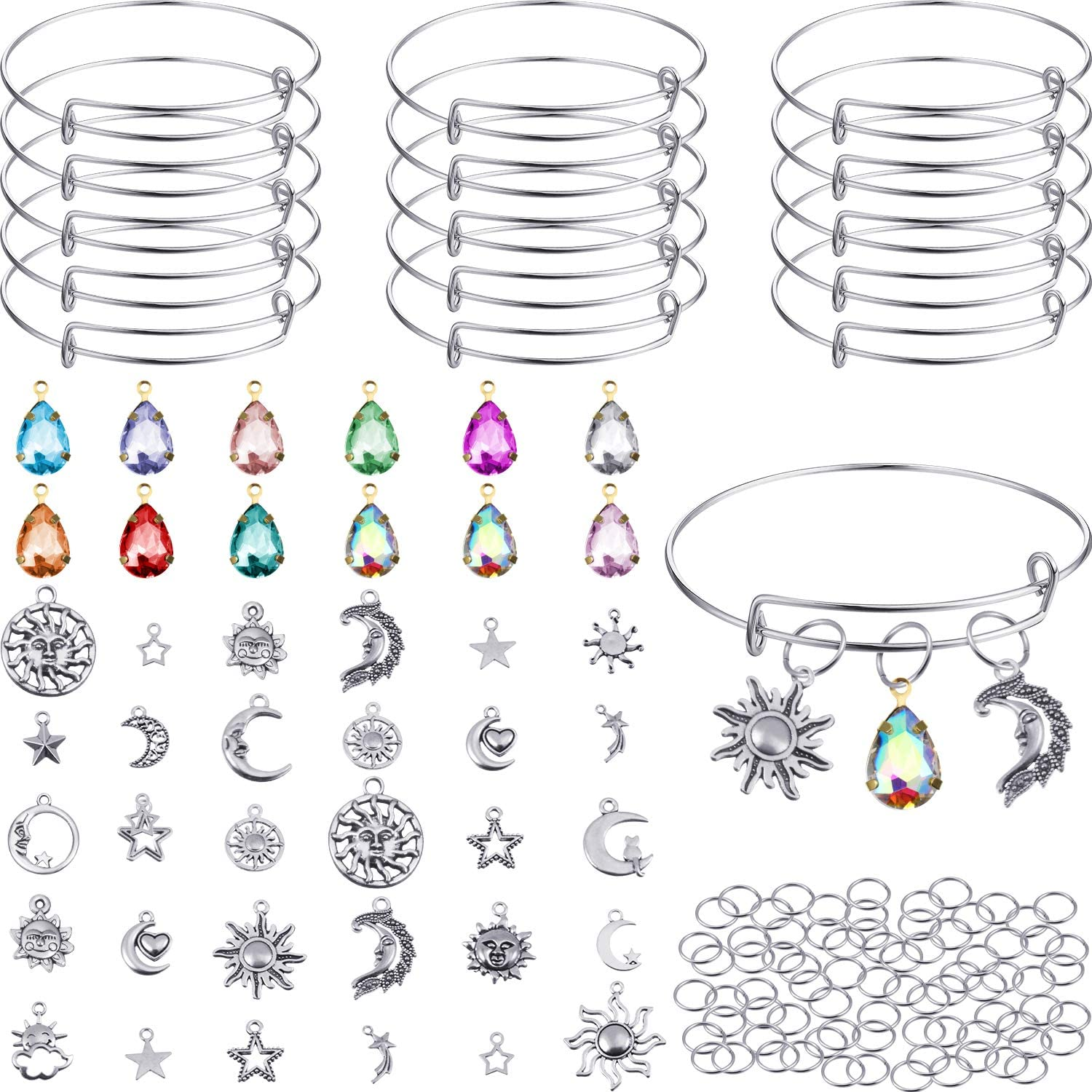 65 DIY Silver Sun Moon Stars Charm Pendant Assorted with Expandable Bangle Adjustable Wire Bracelets Crystal Charms Extra 200 Pack Open Ring for DIY Craft Jewelry Making