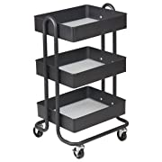 ECR4Kids 3-Tier Metal Rolling Utility Cart - Heavy Duty Mobile Storage Organizer, Black