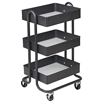 Superieur ECR4Kids 3 Tier Metal Rolling Utility Cart   Heavy Duty Mobile Storage  Organizer, Black