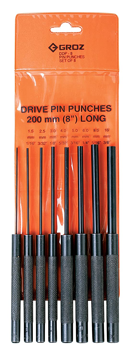 "#25569 Round Shank 4/"" length Black Oxide Finish GROZ 8-piece Pin Punch Set"