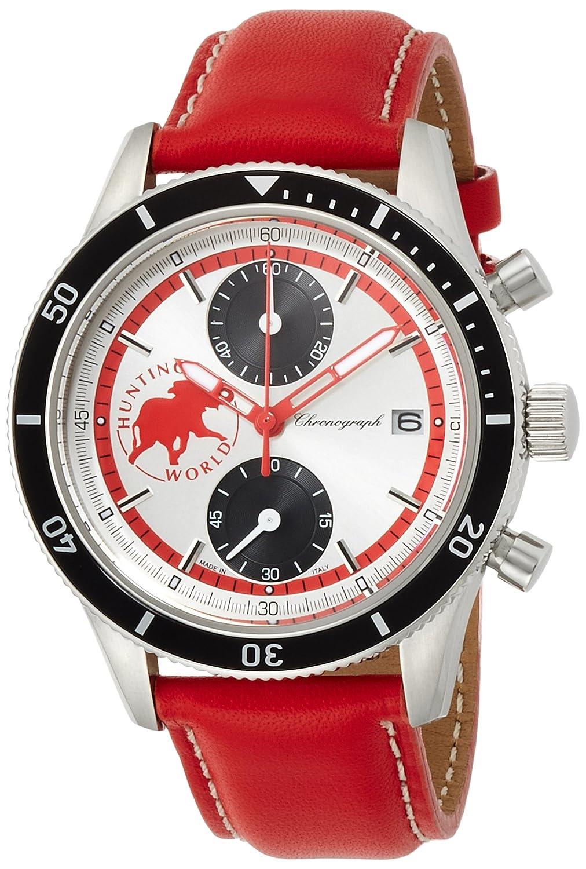 [ハンティングワールド]HUNTING WORLD 腕時計 グランドクロノ ホワイト文字盤 レッド革 クォーツ 10気圧防水 HW024RD メンズ 【正規輸入品】 B01DTZ702S