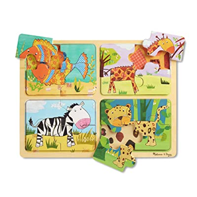 Melissa & Doug Natural Play Wooden Puzzle: Animal Patterns (Four 4-Piece Animal Puzzles): Toys & Games