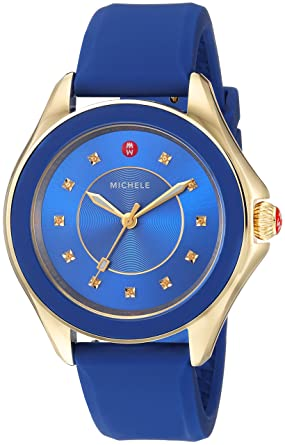 acde0b572 MICHELE Women's Cape Stainless Steel Swiss-Quartz Watch with Silicone  Strap, Blue, 17