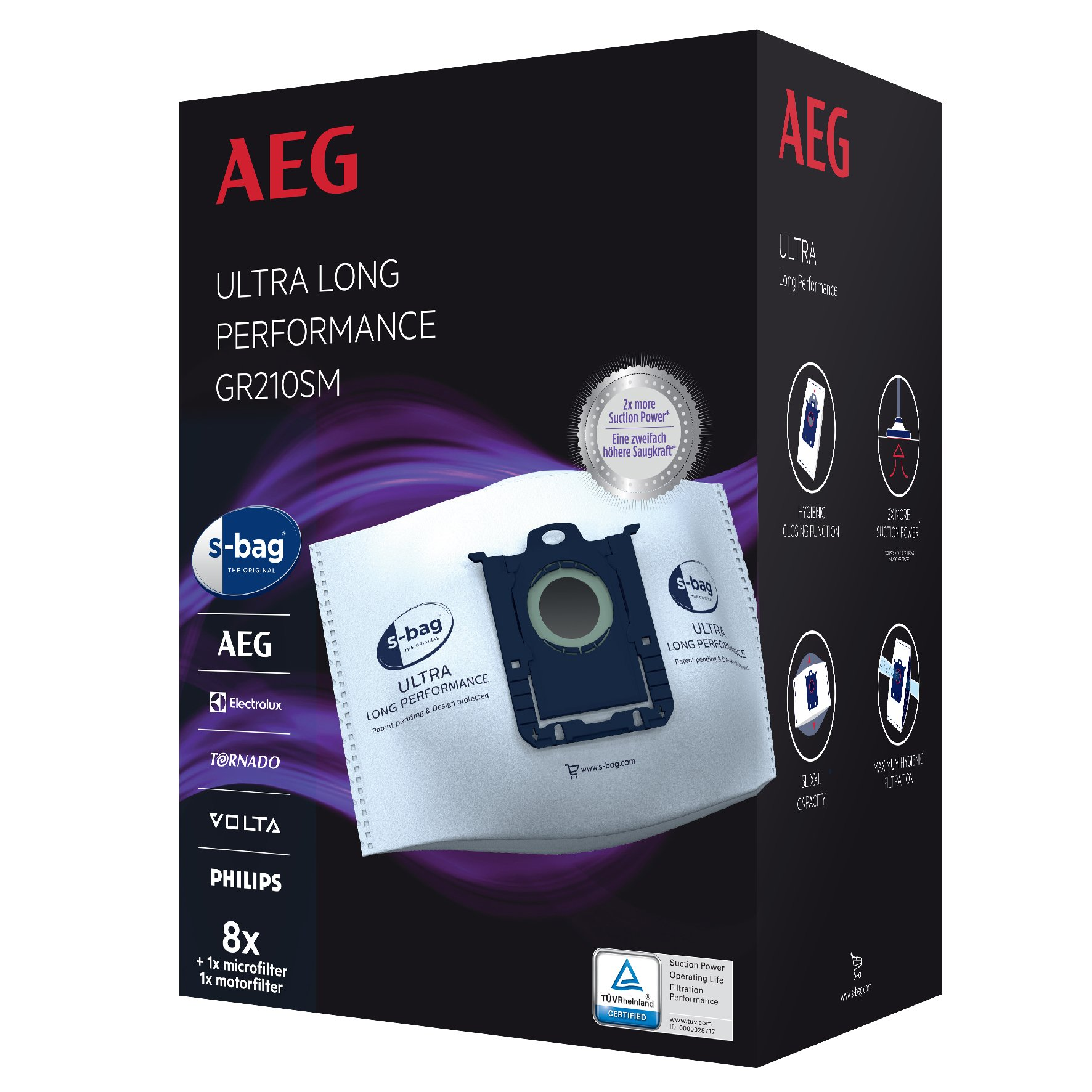 Aeg GR210SM S-Bag Ultra Long Performance Vacuum Dust Bags for Mega Pack,