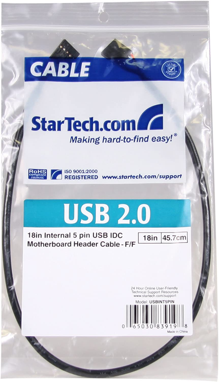 StarTech USBINT5PIN Internal 5 pin USB IDC Motherboard Header Cable 1.5 Feet