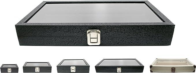 Custom NB Pouch Novel Box Medium Glass Top Black Leatherette Metal Clasp Jewelry Display Case 8.1X4.75X2