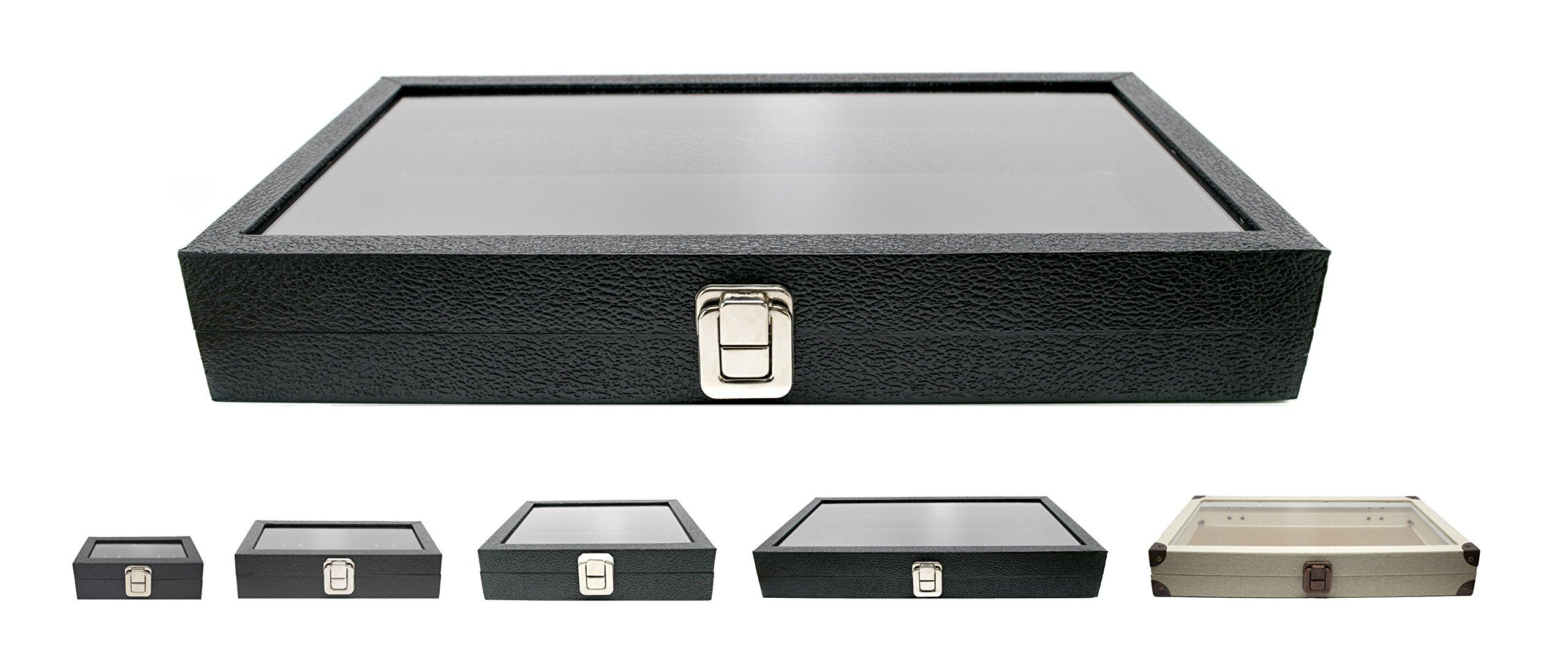 Novel Box Large Glass Top Metal Clasp Jewelry Display Case Burlap