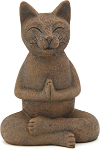 Buddha Groove Meditating Namaste Cat Zen Praying Statue, Multiple Colors (Textured Clay)