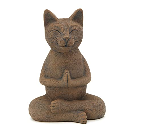 Buddha Groove Meditating Namaste Cat Zen Praying Statue, Multiple Colors Textured Clay