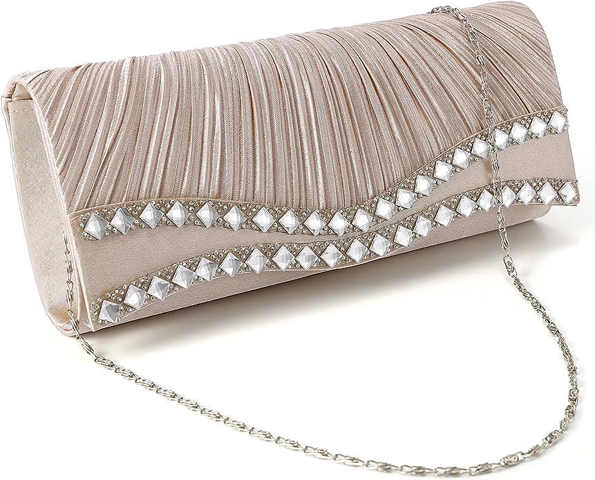 Fraulein38 Diamante Edge Frill Clutch Women Party Shoulder Bag Wedding Hand Carry Purse