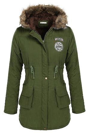 a9b417e07552 SummerRio Winterjacke Damen Leicht Wärm Lang Winter Herbst Wintermantel mit  Tasche und Fellkapuze  Amazon.de  Bekleidung