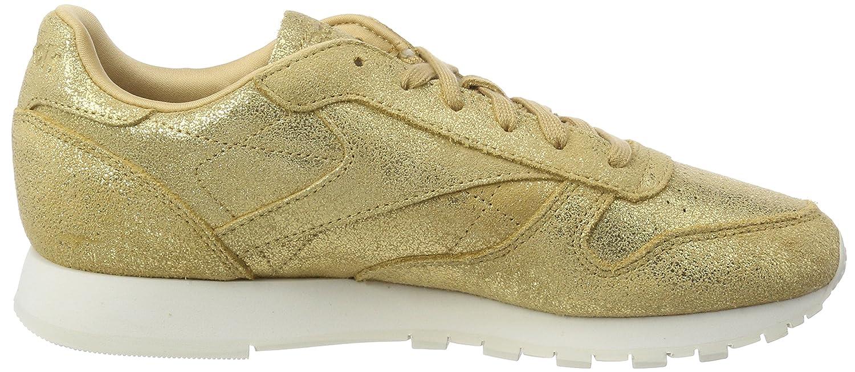 Reebok Cl Lthr Shimmer, Zapatillas de Deporte para Niñas, Dorado (Xj Gold/Chalk 000), 35 EU
