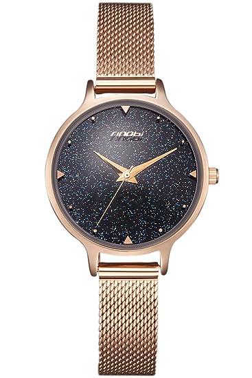 Reloj mujer Rose Oro Brillante Esfera Acero Inoxidable Reloj de pulsera elegante analógico de cuarzo mujeres