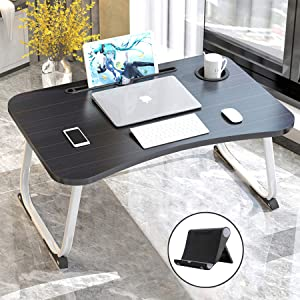 """Bed Table Desk, XXL Laptop Table with Drawer, Foldable Lap Desk Tray with Cup Holder, Portable Lap Table with Phone Stand, Ergonomic Standing Laptop Tray in Bed/Couch/Sofa/Office(27.5""""x18.9""""x11"""")"""