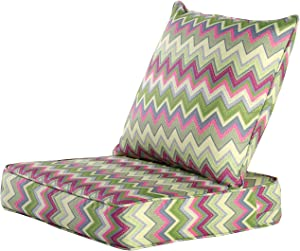 MAXDIVANI Indoor/Outdoor Deep Seating Patio Chair Seat and Back Cushion Set, Spring/Summer Seasonal Water Repellent Fabric Cushions (Stripe)