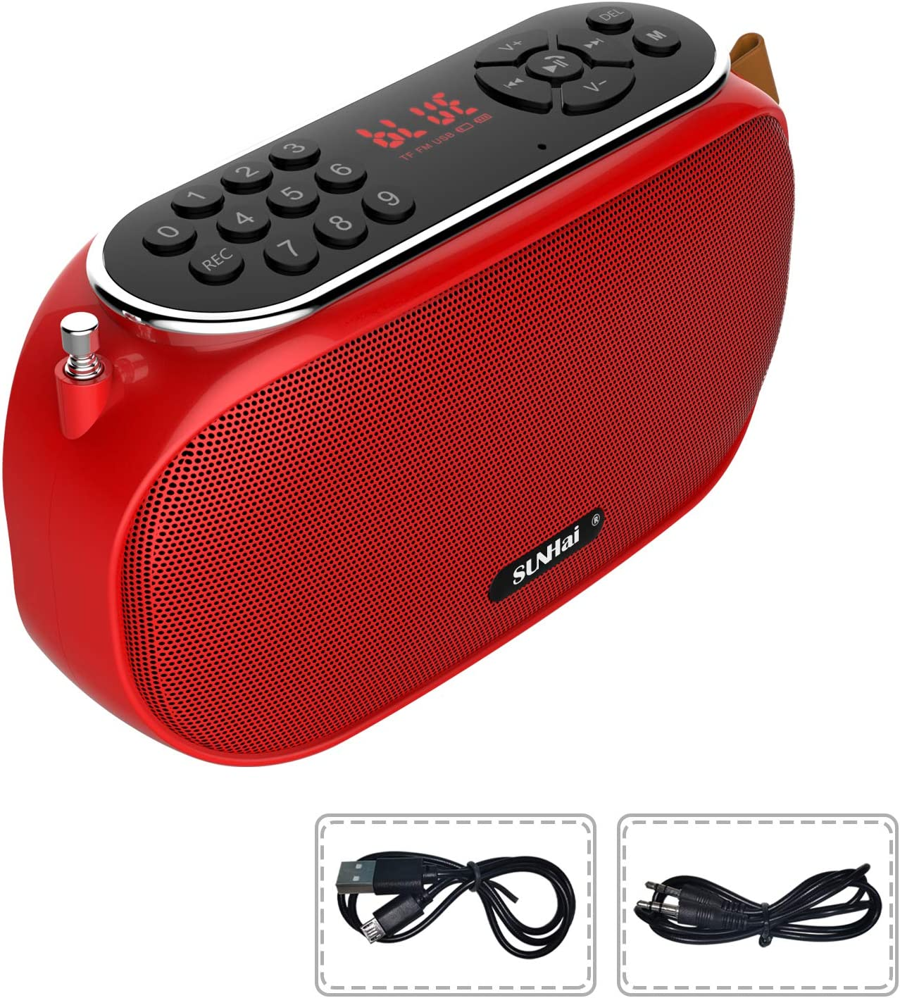 SUNhai Bluetooth Speaker Portable Wireless Radio Desktop Speaker J19 with HD Sound,FM,TF,USB Player,USB Charge,AUX Input,Built-in Microphone,Aux Cable,Support Hands-Free Call for Outdoors,Party-Red