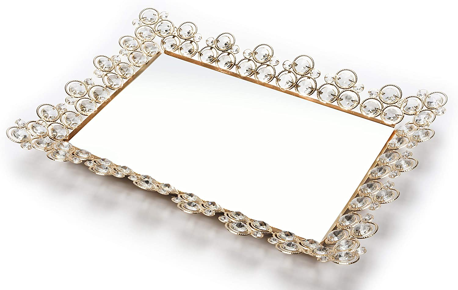 "Mint Living X-Large Gold Crystal Mirror Tray(17.5"" x 13"") - Decorative Ornate Rectangle Coffee Table Decor for Ottoman, Dresser, Vanity, Bathroom, Serving, Makeup Jewelry Perfume Storage Organizer"