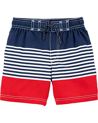 bd72f2d6ed Carter's Toddler Boys' Swim Trunk, Red/Blue Stripe, ...