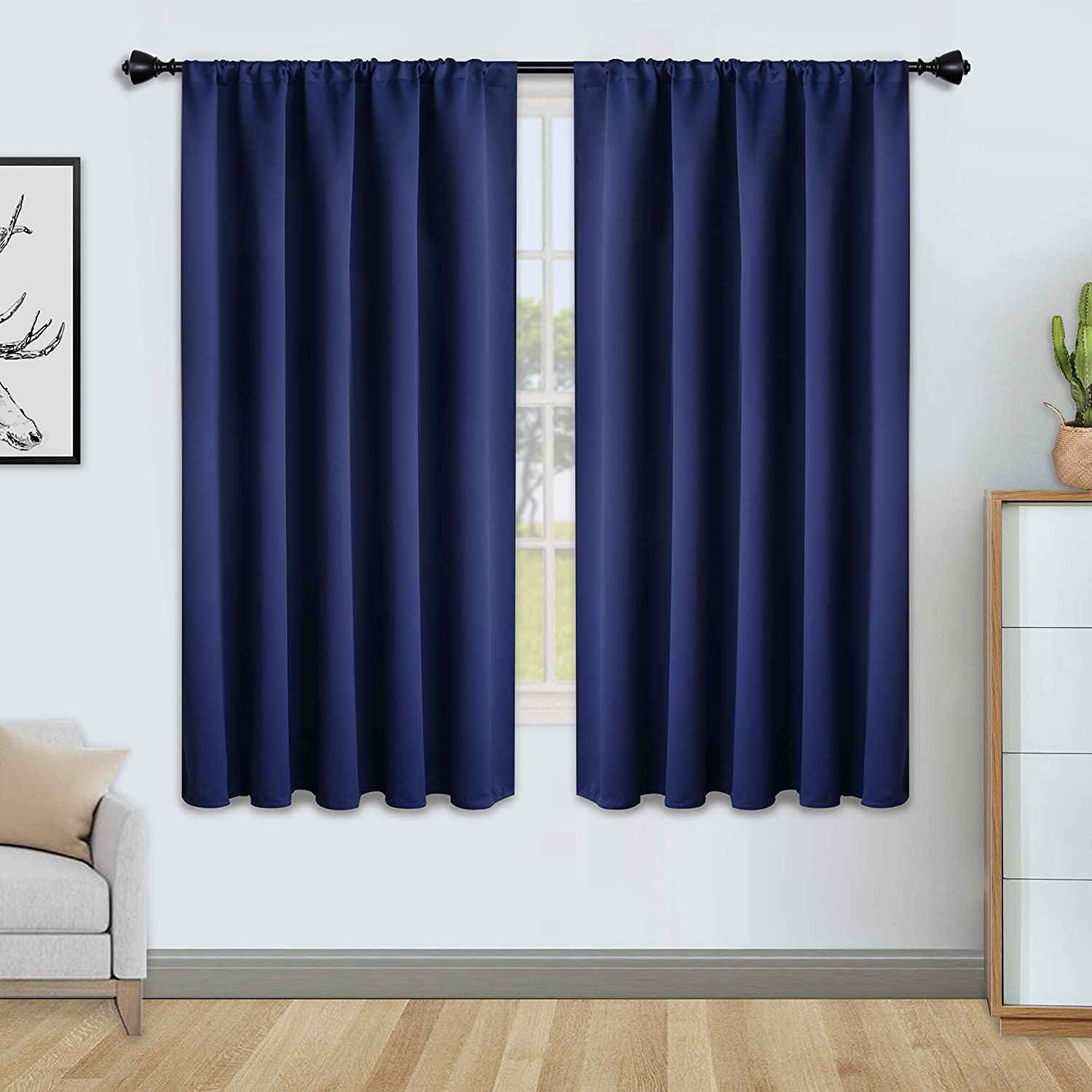 Floweroom Blackout Curtains For Bedroom Thermal Insulated Rod Pocket Window Curtains Darkening Curtain For Living Room Navy 2 Panels W52 X L45 Inch 132cmx114cm Amazon Co Uk Kitchen Home