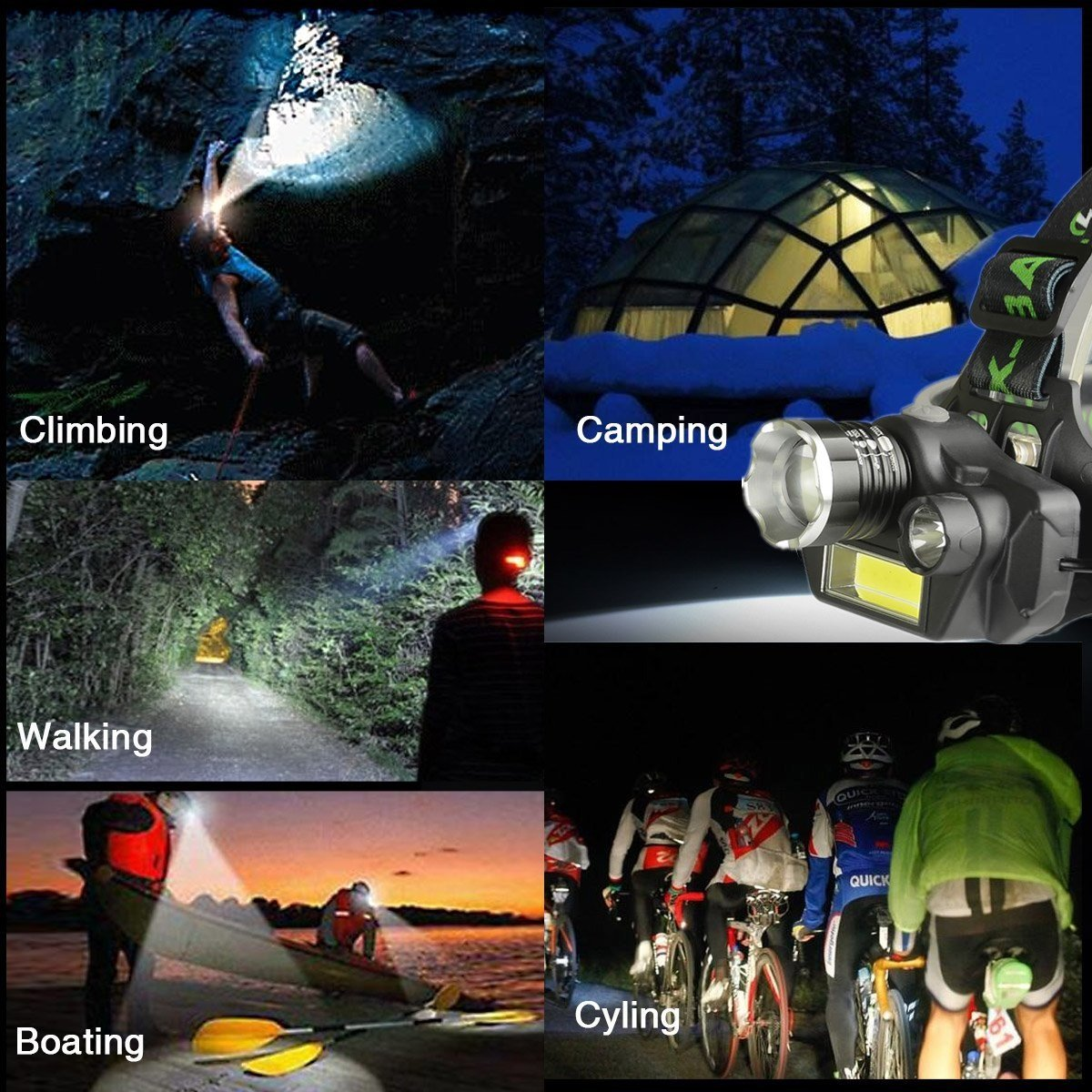 LED Headlamp Flashlight, USB Rechargeable LED Headlamp- Waterproof & Comfortable Headlight, Battery Powered Helmet Light, 8000 Lumen 4 Light 5 Modes Super Bright by KAILEDI. (Image #8)