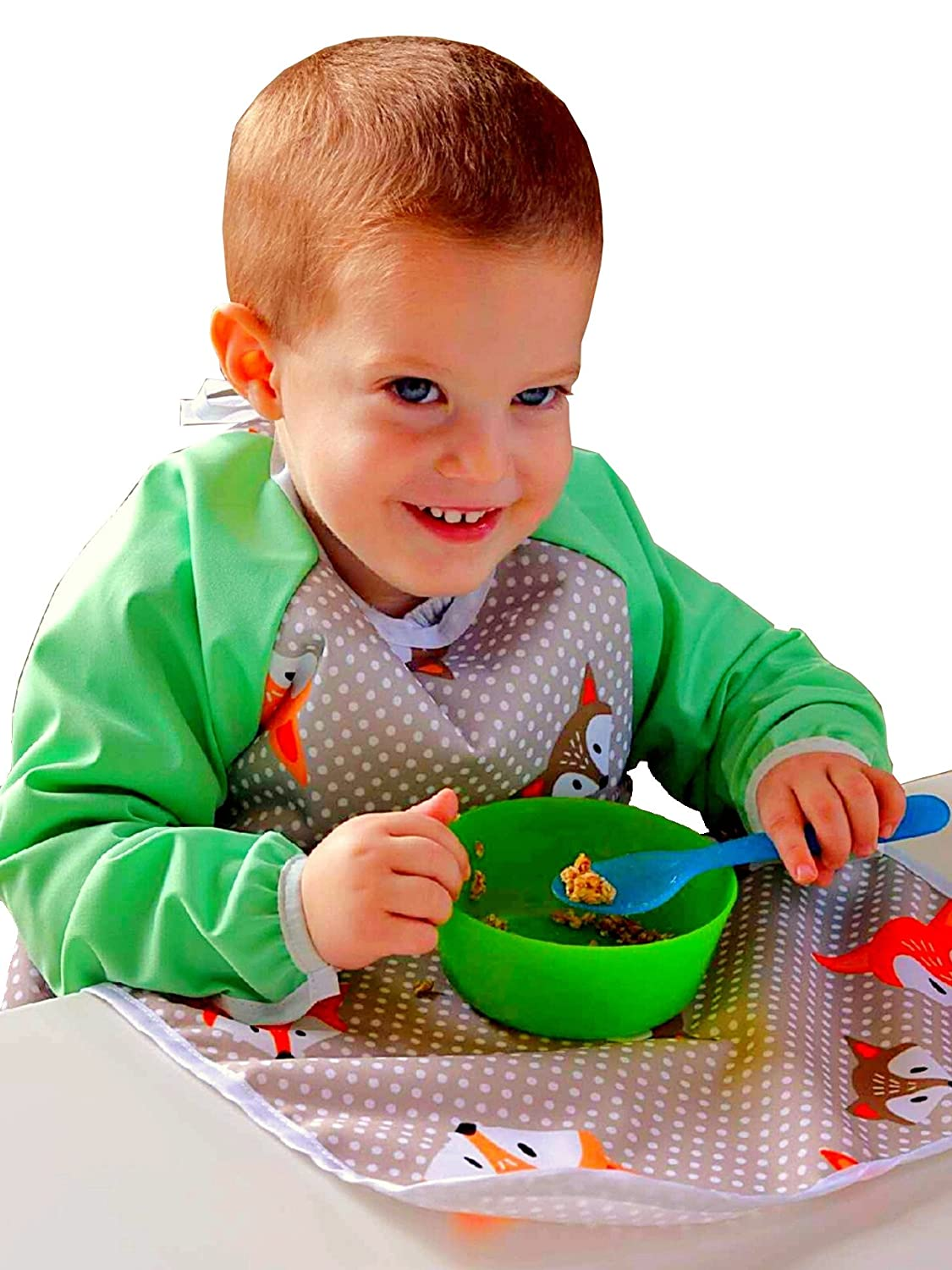6-18M, Foxes//Mint Perfect for Baby led Weaning Or Messy Play Lilypoppy Sleeved bib makes mealtimes fun again Soft Waterproof Bibs with Sleeves Gives Full Coverage for Baby and Toddlers
